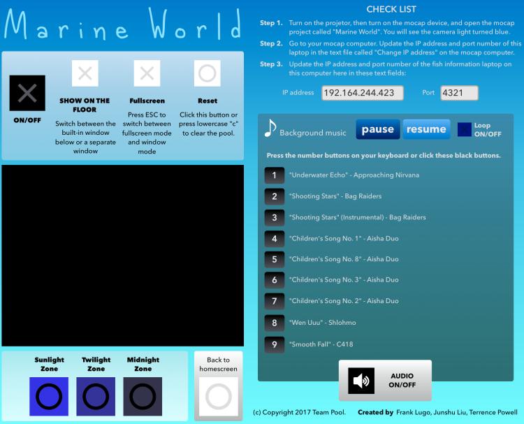Marine World Control Panel UI