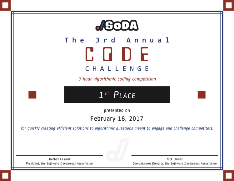 The 3rd Annual SoDA Code Challenge Certificate
